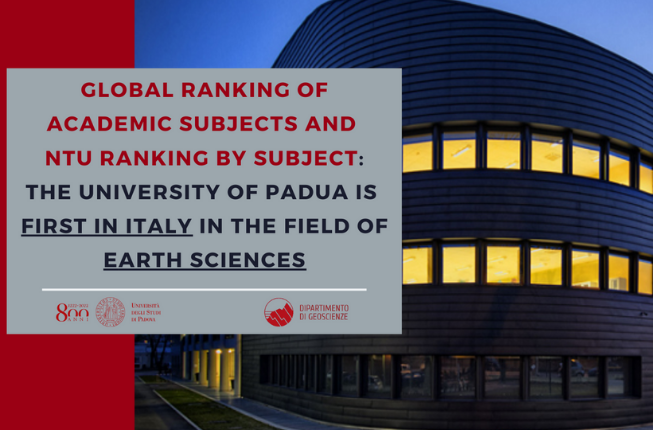 Collegamento a Global Ranking of Academic Subjects (GRAS) and NTU Ranking by Subject: The University of Padua is first in Italy in the field of Earth Sciences
