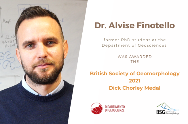 Collegamento a Dr. Alvise Finotello, former PhD student at the Department of Geosciences, was awarded the British Society of Geomorphology 2021 Dick Chorley Medal